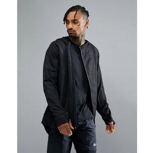 sport hooded water repellent jacket in black - black, Bershka