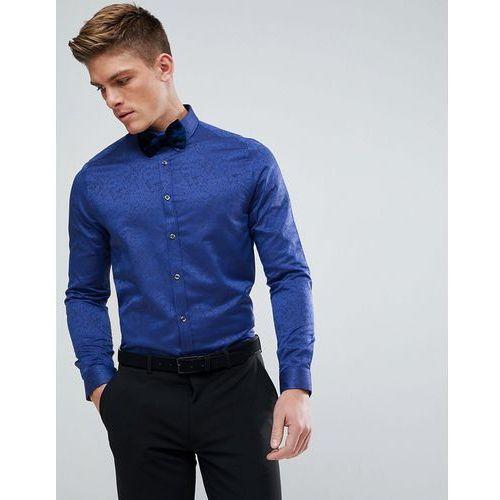 Burton Menswear Slim Fit Shirt In Blue Jacquard Print - Blue