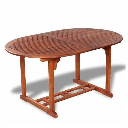 Rozkładany stół ogrodowy rencontrer - lite drewno akacjowe marki Elior