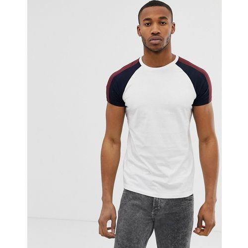 Bershka raglan t-shirt in white with stripes - White