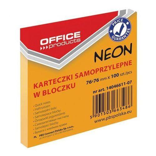 Bloczek samoprzylepny OFFICE PRODUCTS, 76x76mm, 1x100 kart., neon, pomarańczowy, 14046611-07