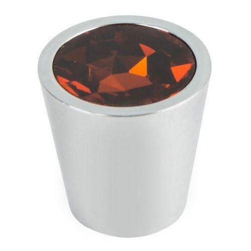 Gałka Schaffner Sofia kryształowa okrągła fi 28 mm brązowa (5907467751825)