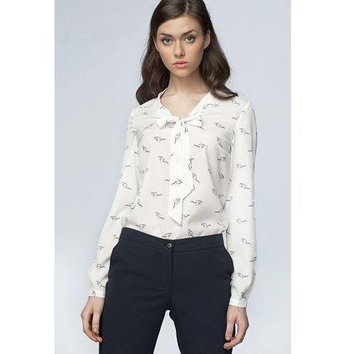 Delikatna bluzka z wiązaniem na dekolcie - okulary/ecru - B56, kolor beżowy