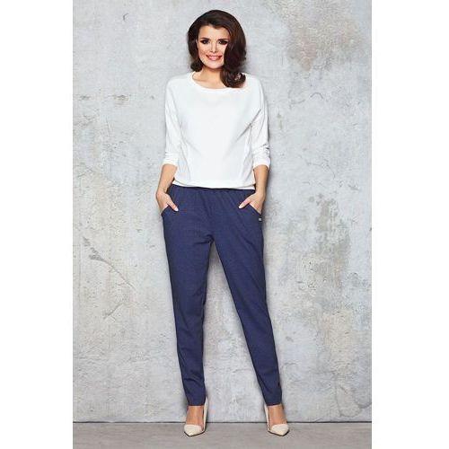 Jeansowe Granatowe Spodnie na Gumie, WM051dbe