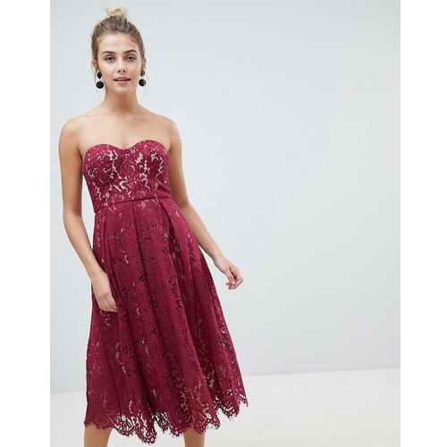 New Look lace bandeau midi dress - Red