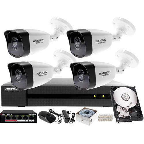 Hikvision hiwatch Zestaw do monitoringu ip sklepu, hurtowni, magazynu rejestrator ip hwn-4108mh + 4x kamera 4mp hwi-b140h-m + akcesoria