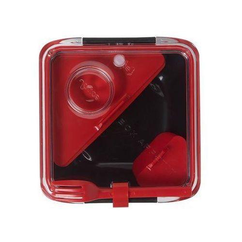Pudełko na lunch box appetit czerwono-czarne z czerwonymi akcesoriami marki Black+blum