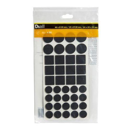Diall Podkładki samoprzylepne filcowe różne czarne 80 szt. (3663602992622)