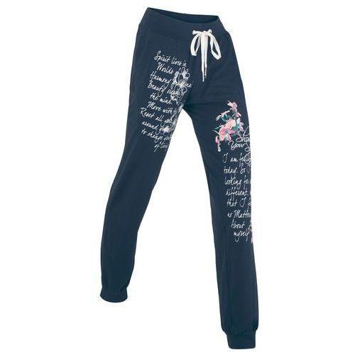 Spodnie sportowe, długie bonprix ciemnoniebieski z nadrukiem
