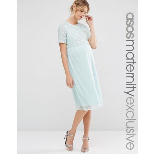 pearl embellished midi dress - pink, Asos maternity