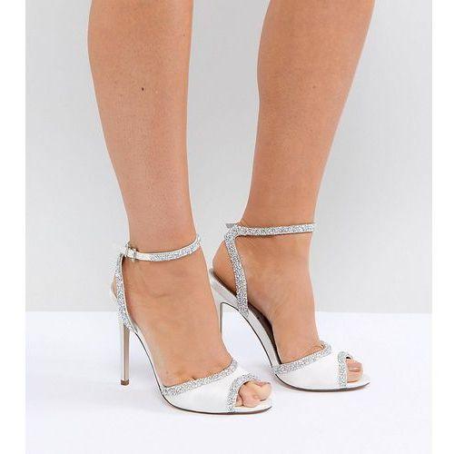 hitched wide fit bridal embellished heeled sandals - cream marki Asos