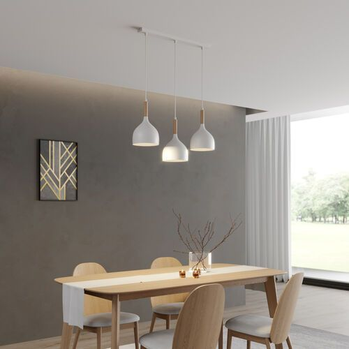Luminex Noak wood 1196 lampa wisząca zwis 3x60W E27 biały / brązowy, 1196