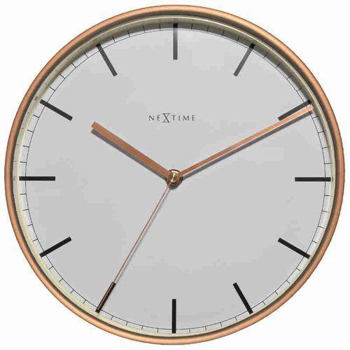 NeXtime Zegar ścienny biało - miedziany - 'Company'