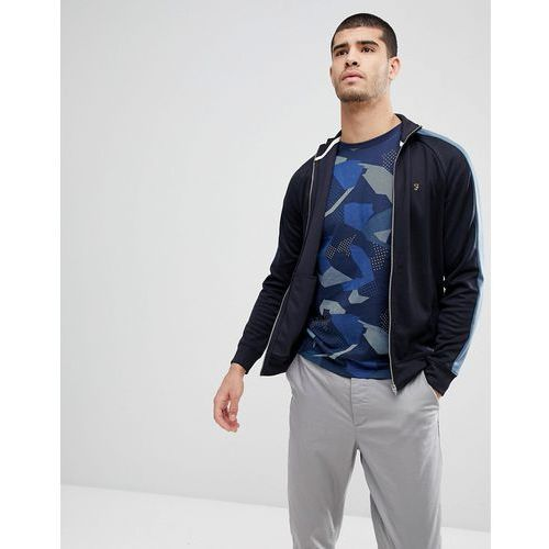 irk slim fit tricot zip through sweat jacket in navy - navy marki Farah
