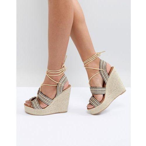 Glamorous wedge espadrille lace up heeled sandal - black