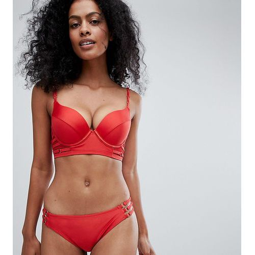 Wolf & Whistle Fuller Bust Strappy Long Line Bikini Top DD-G - Red, kolor czerwony