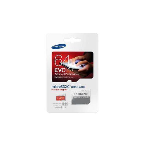 Samsung karta pamięci EVO+ microSDXC 64GB Class 10 UHS-I Odczyt:Zapis 80/20MB/s, MB-MC64DA/EU