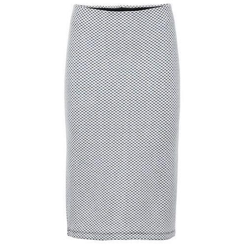 Elastyczna spódnica żakardowa bonprix biel wełny, kolor biały