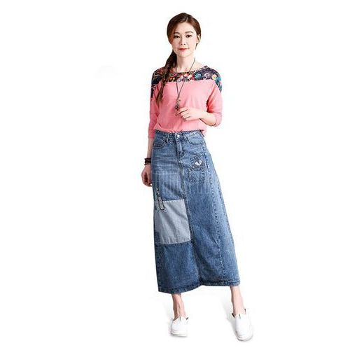 Female Patchwork Pattern Slim Long Dress Leisure Jeans Skirt