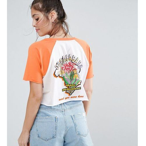 t-shirt in boxy fit with contrast raglan and island print - multi, Asos petite