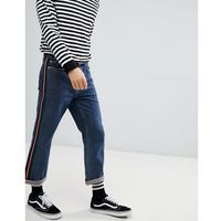 straight cropped jeans with side tape - blue, Mennace