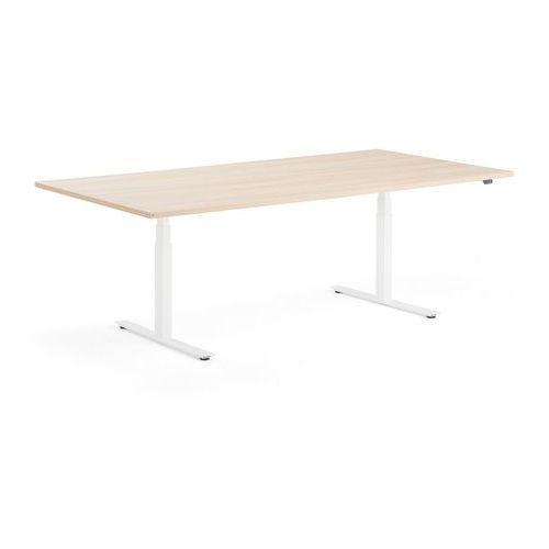 Stół konferencyjny MODULUS, 2400x1200 mm, regulacja, biała rama, dąb