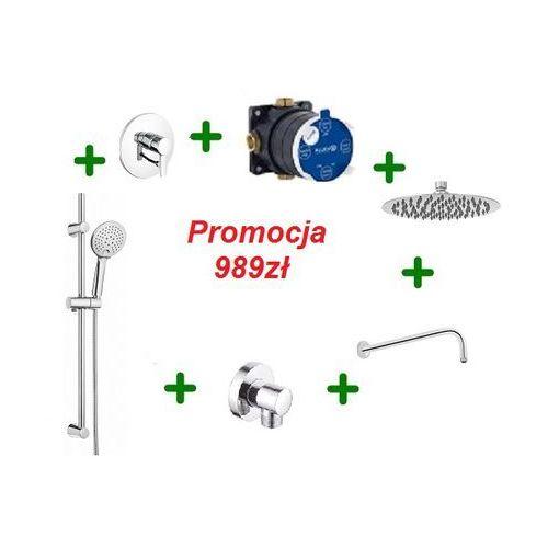 zenta kompletny zestaw prysznicowy z drążkiem i deszczownicą oxy 25cm 386500575 marki Kludi
