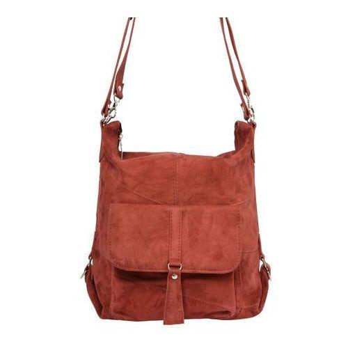 Shopper bag zamszowy 2w1 cegła