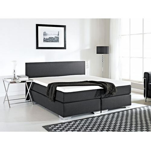 Łóżko kontynentalne 180x200 cm - Łóżko tapicerowane - PRESIDENT czarne, kolor czarny