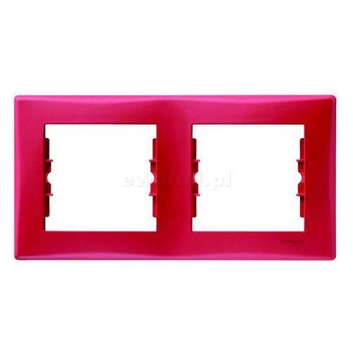 Ramka podwójna Schneider Sedna SDN5800341 pozioma czerwona (8690495036923)
