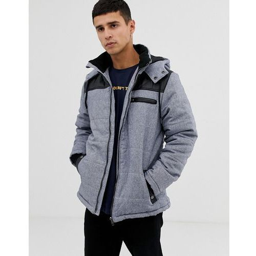 zip through hooded quilted jacket - grey, Another influence