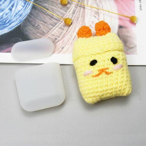 Silikonowe etui pudełeczko case na słuchawki AirPods 2gen / 1gen z wełnianą nakładką kurczaczek - 5