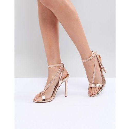 metallic barley there heeled sandals - copper, River island