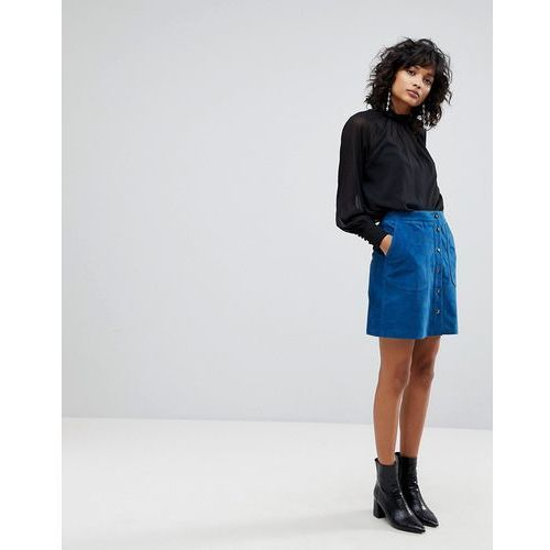 Y.A.S Suede Mini Skirt With Button Front - Blue