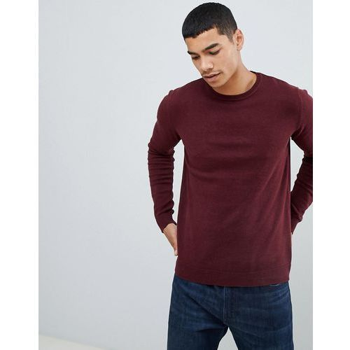 knitted join life jumper in burgundy - red, Pull&bear
