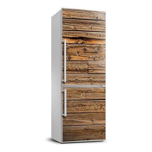 Naklejka Tapeta na lodówkę Drewniana ściana