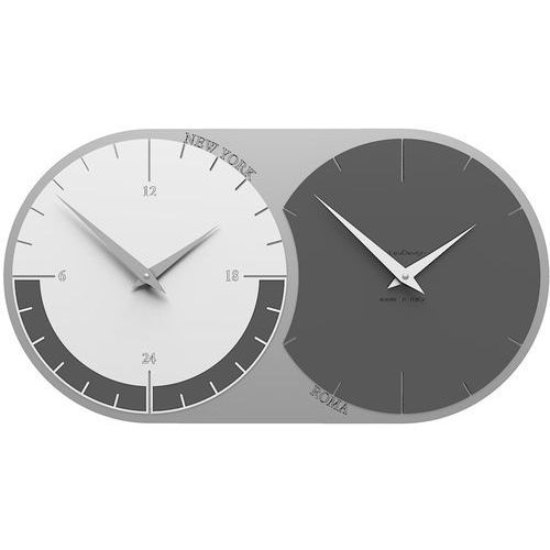Zegar ścienny - 2 strefy czasowe World Clock CalleaDesign szary / biały (12-009-3), kolor szary