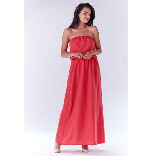 Infinite you Różowa maxi sukienka z odkrytymi ramionami