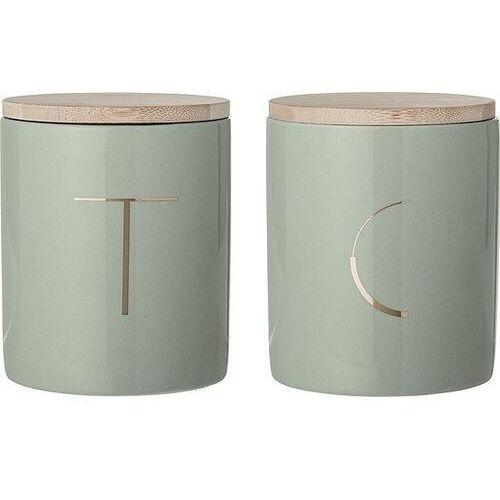 Ceramiczne pojemniki kuchenne z pokrywką, 2 szt, zieleń - marki Bloomingville