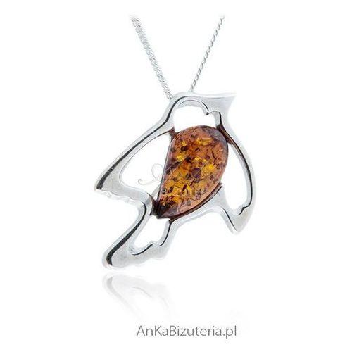 Anka biżuteria Jaskółka - wisiorek srebrny z bursztynem. jaskółka: miłość, rodzina, nadzieja