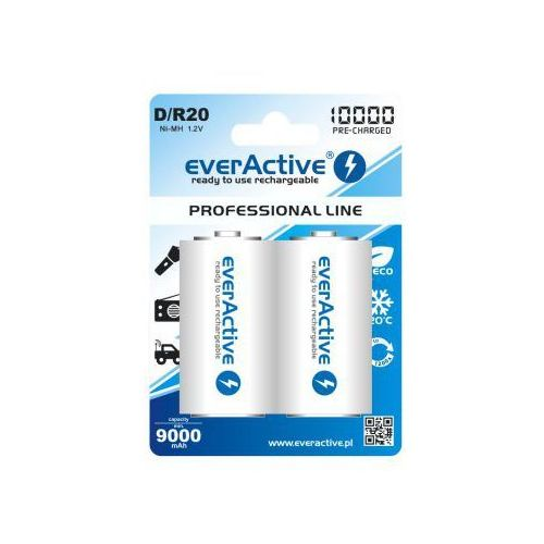 "2x everActive R20/D Ni-MH 10000 mAh ready to use ""Professional line"""