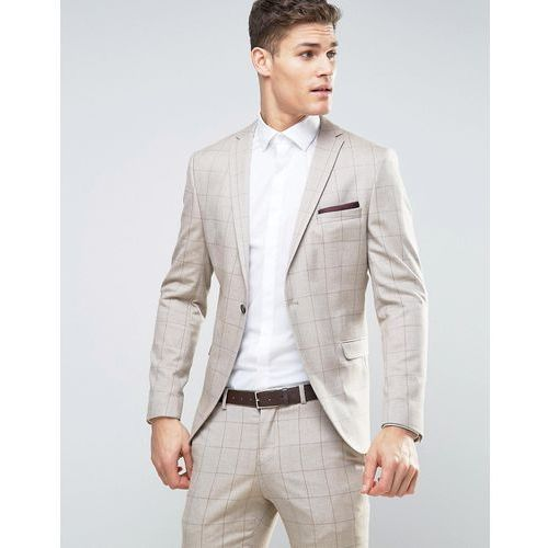 skinny suit jacket in window pane check - stone, Selected homme