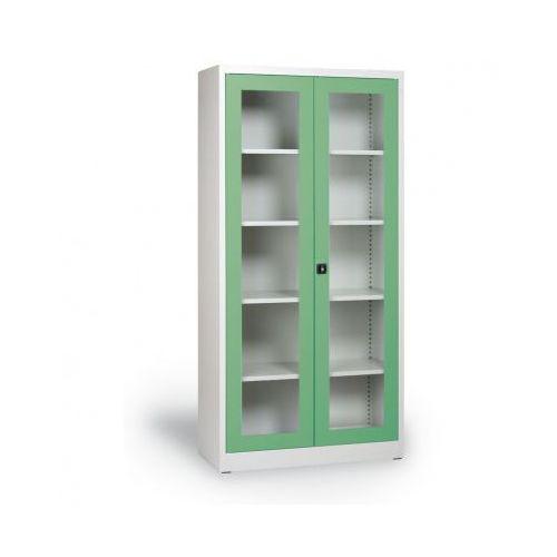 Szafa ze szklanymi drzwiami, 1950 x 920 x 400 mm, szaro-zielona