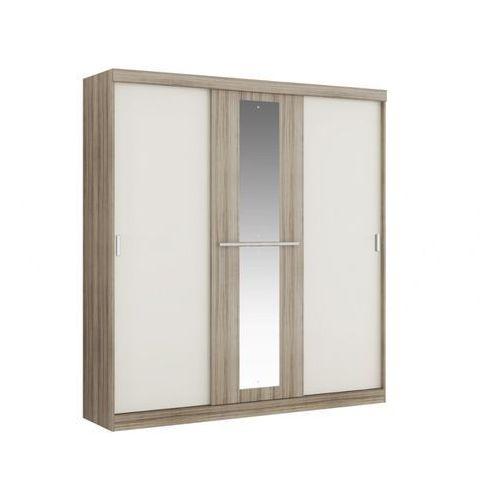 Szafa DIDDA - 3 przesuwnych drzwi - dł.205 cm - Kolor: dąb i kość słoniowa