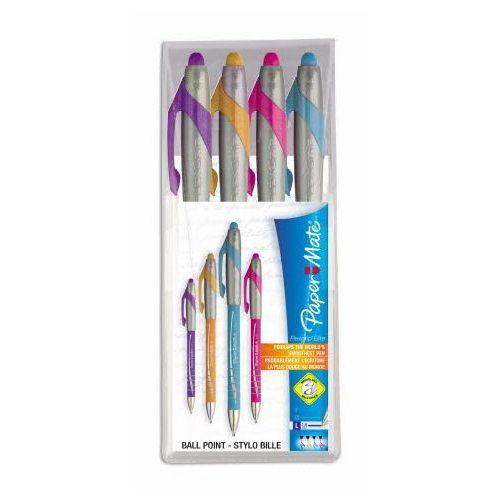 PAPERMATE Długopis automatyczny FLEXGRIP ELITE neon mix kolorów, 4 sztuki