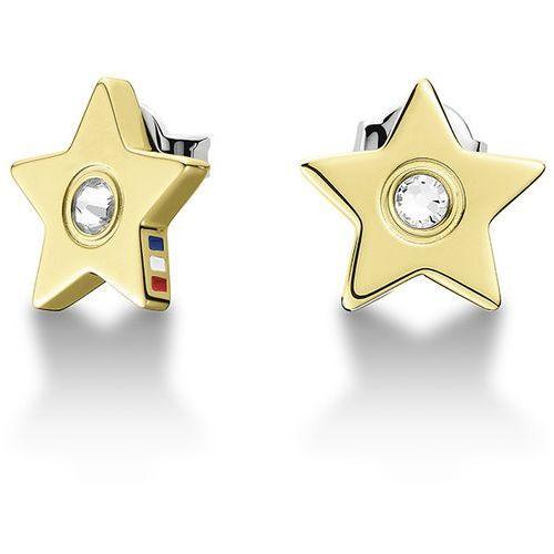 Tommy hilfiger złote kolczyki z kryształowymi gwiazdek th2700844 (7613272220262)