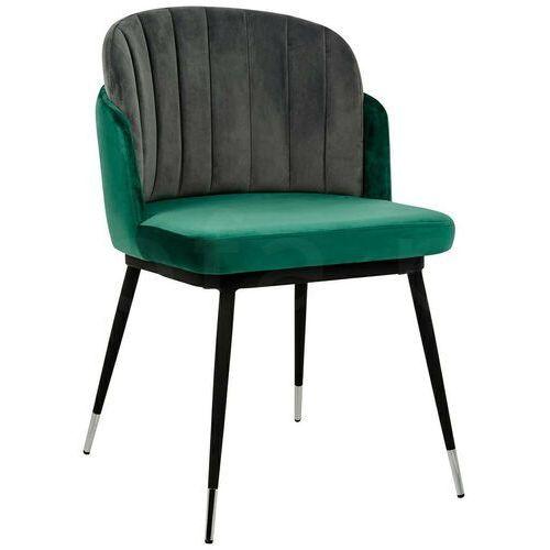 Sofa.pl Krzesło marcel zielono szare - welur, podstawa czarno-srebrna