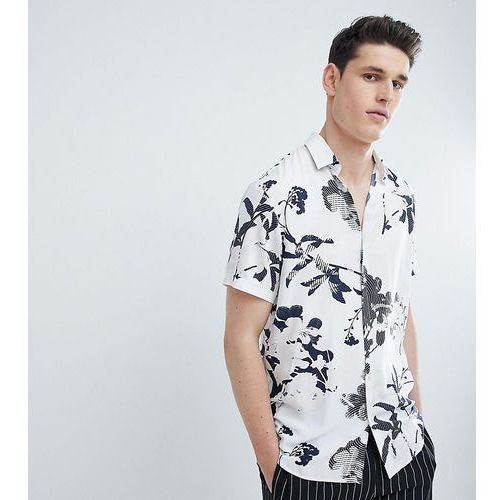 Selected Homme TALL Short Sleeve Viscose Shirt With All Over Print - White, kolor biały