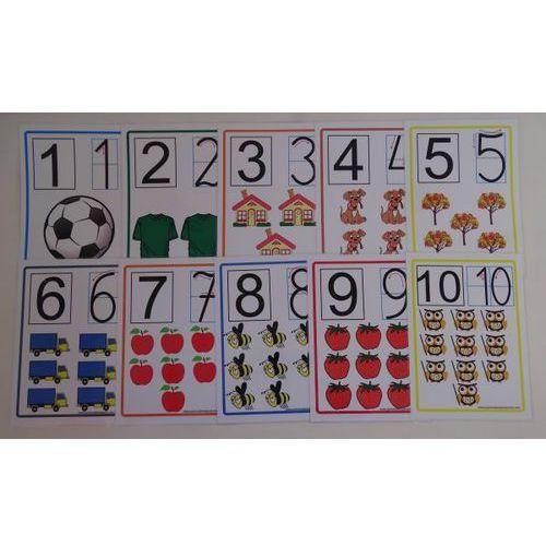 Cyfry od 1 do 10 - karty edukacyjne wersja z kierunkiem pisania cyfr cyfry marki Bystra sowa