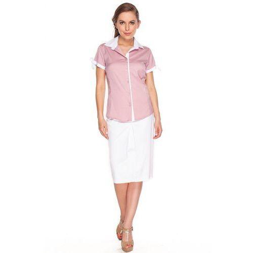 Koszula różowa w białe paski z białymi kokardkami - Duet Woman